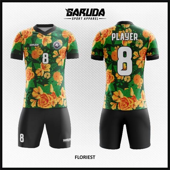 Baju Futsal Custom Desain Gambar Bunga dan daun
