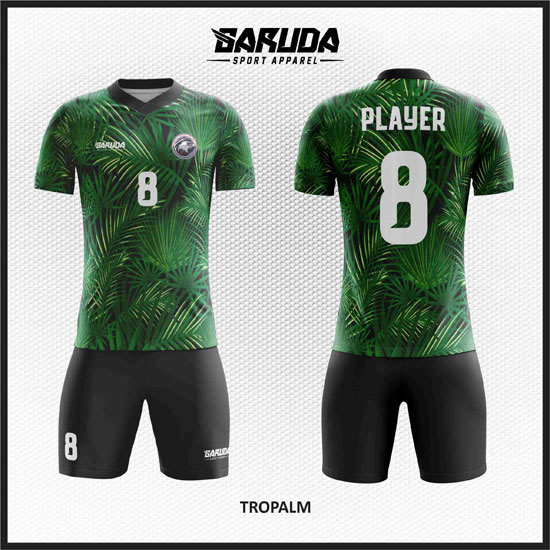 Baju Futsal Custom Desain Gambar Daun hijau