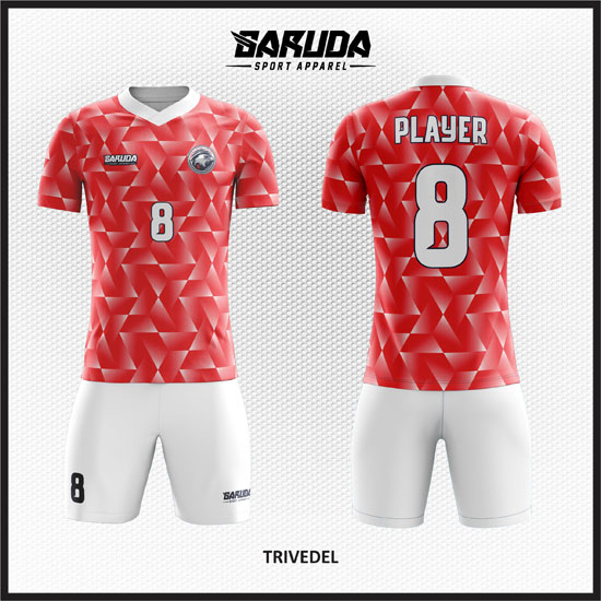 Desain Kaos Futsal Warna Merah Pesan Online 2