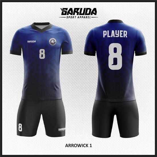 Desain kaos futsal pemain dan kiper gradasi warna biru hitam 2