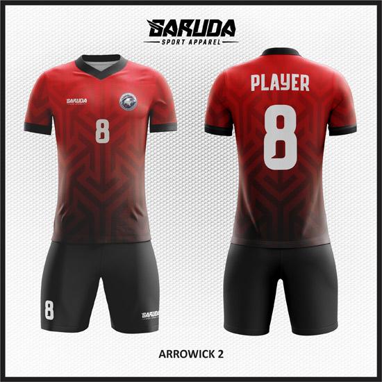 Desain kaos futsal pemain dan kiper gradasi warna merah hitam 2