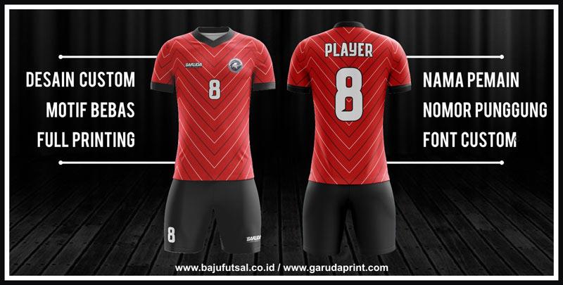 Pembuatan Baju Futsal Dengan Desain Garis-Garis warna merah putih