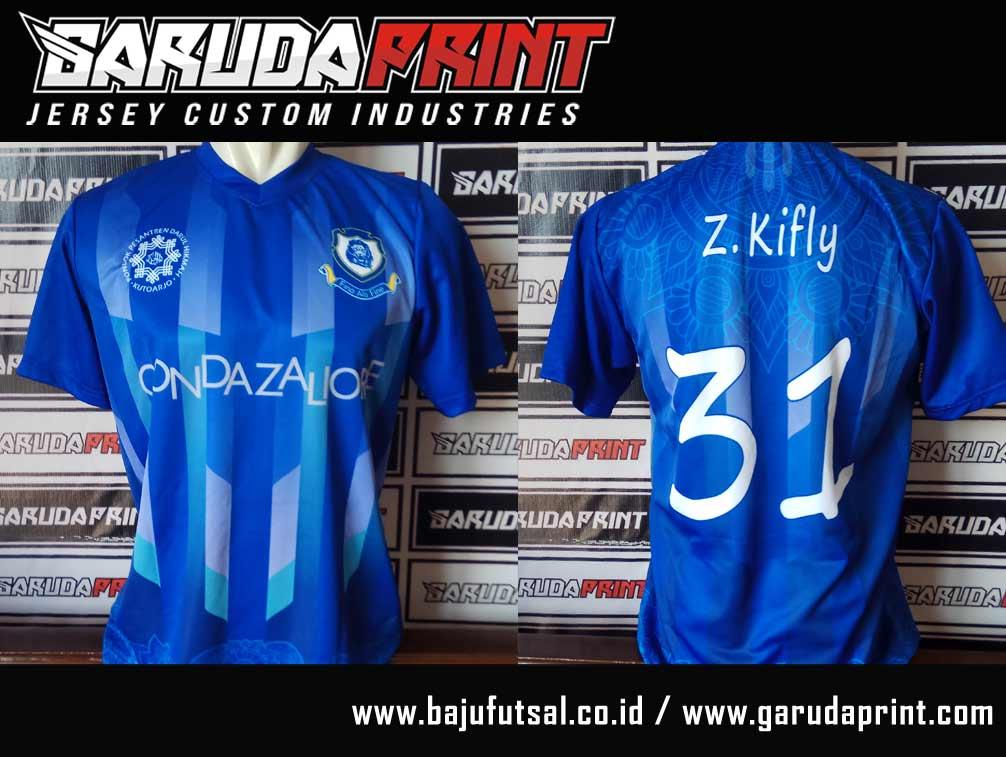 Pembuatan baju futsal printing warna biru full print