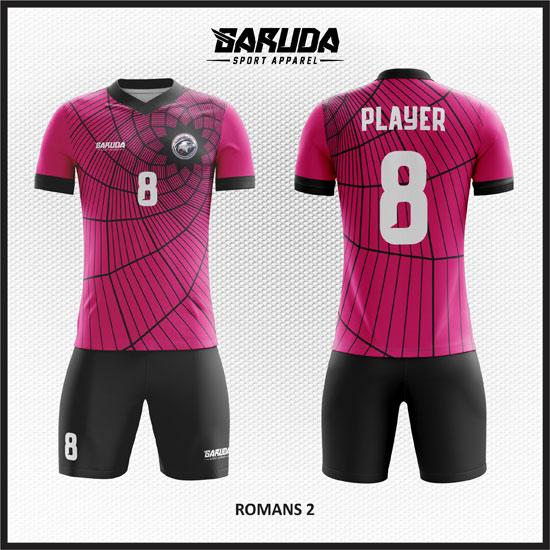 Tempat Pembuatan Desain Baju Futsal Pink hitam