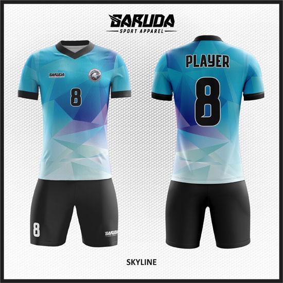 desain baju futsal abstract warna biru