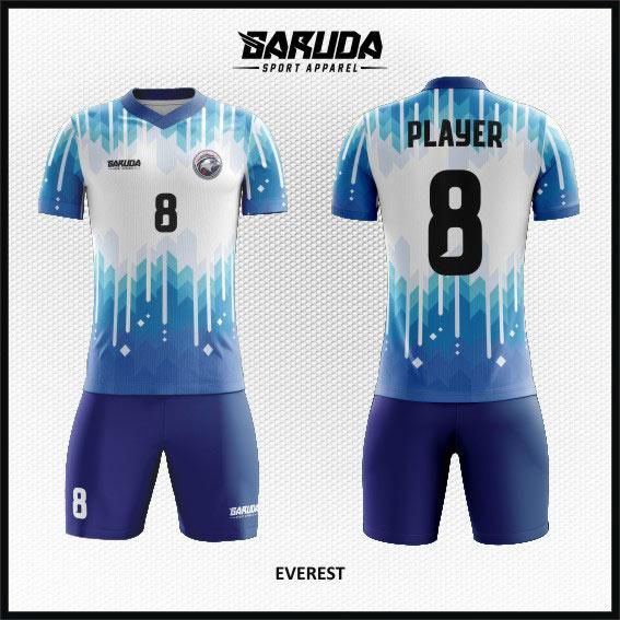 desain baju futsal full printing putih biru