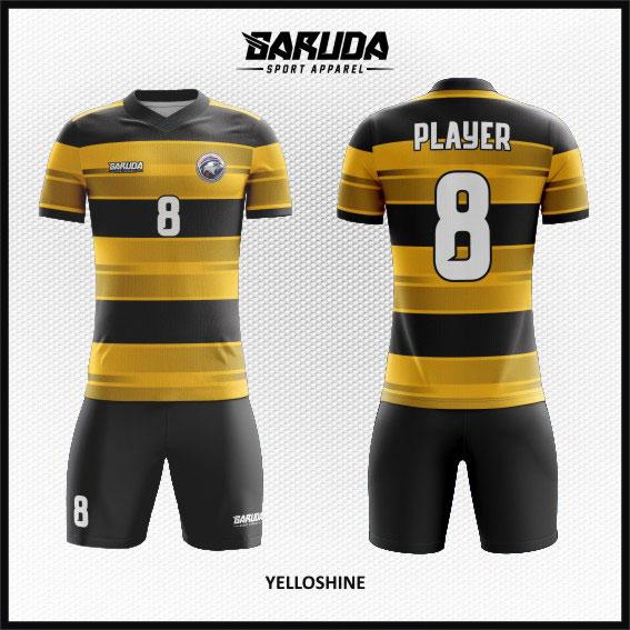 desain baju futsal full printing warna gradasi hitam kuning keren