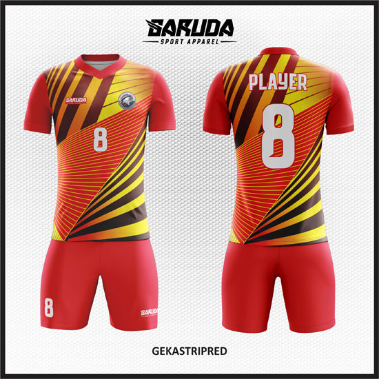 desain baju futsal full printing warna gradasi merah kuning