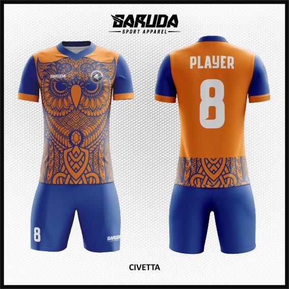 desain baju futsal gambar burung hantu orange biru