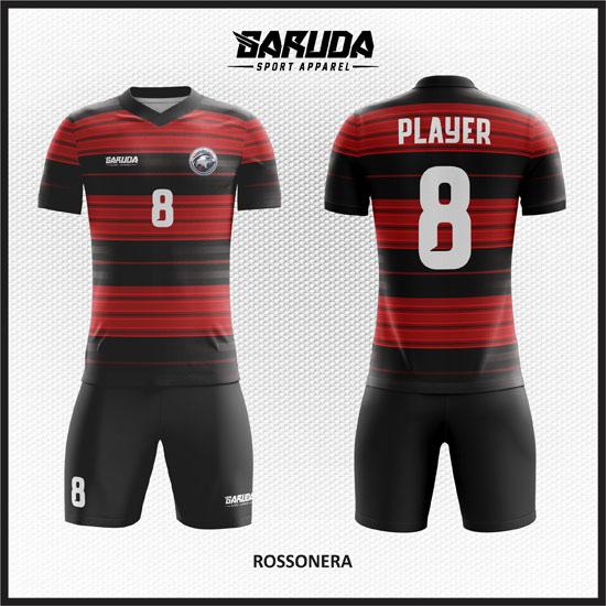 desain baju futsal garis merah hitam
