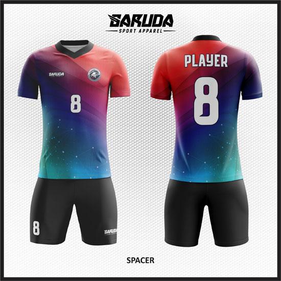 desain baju futsal gradasi merah dan biru terbaru