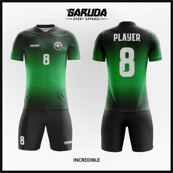 desain baju futsal hijau hitam gradasi