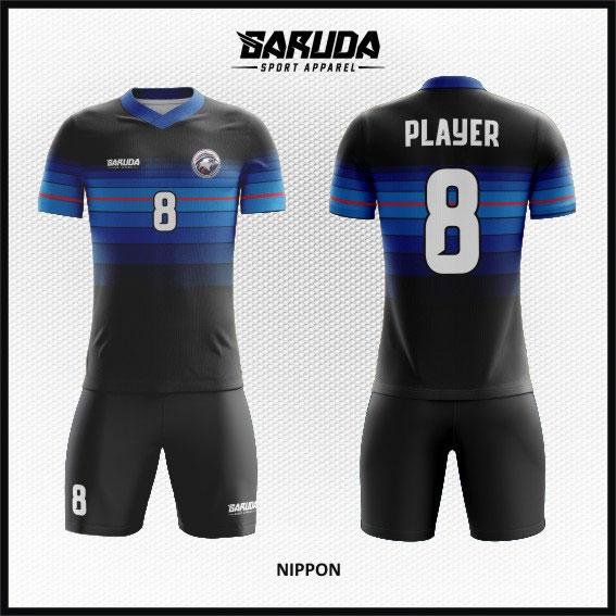desain baju futsal keren full print biru hitam