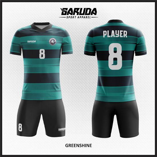 desain baju futsal keren full print gradasi hijau hitam