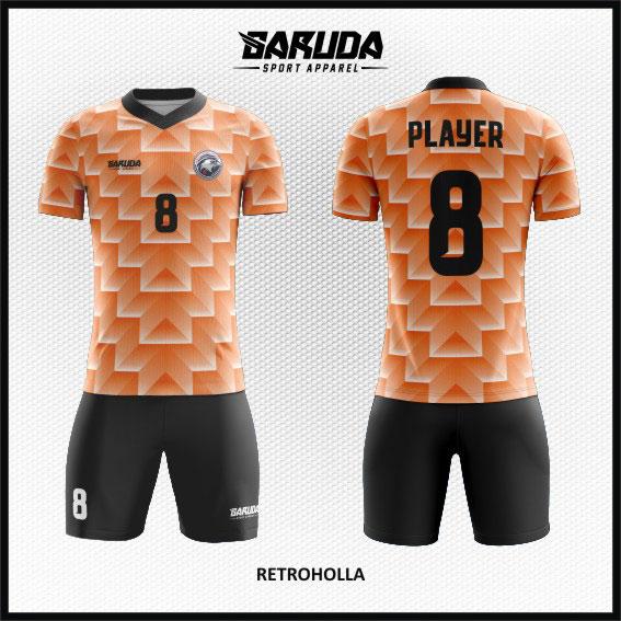 desain baju futsal keren full print orange