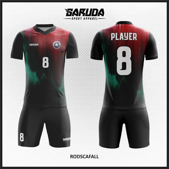 desain baju futsal keren gradasi merah dan hijau