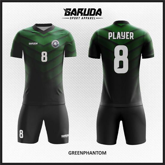 desain baju futsal keren hitam hijau gradasi
