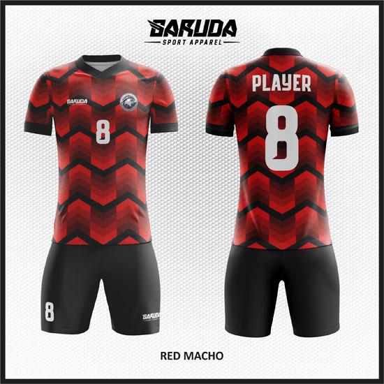desain baju futsal keren merah hitam