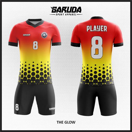 desain baju futsal keren merah kuning hitam gradasi