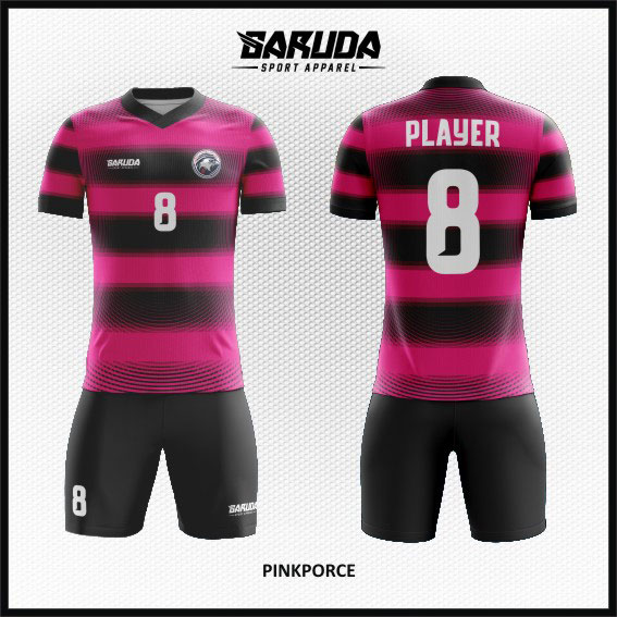 desain baju futsal keren warna pink dan hitam
