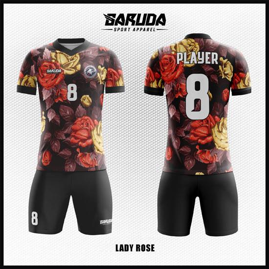 desain baju futsal lady rose bunga mawar