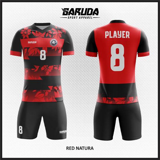 desain baju futsal merah hitam gradasi terbaik
