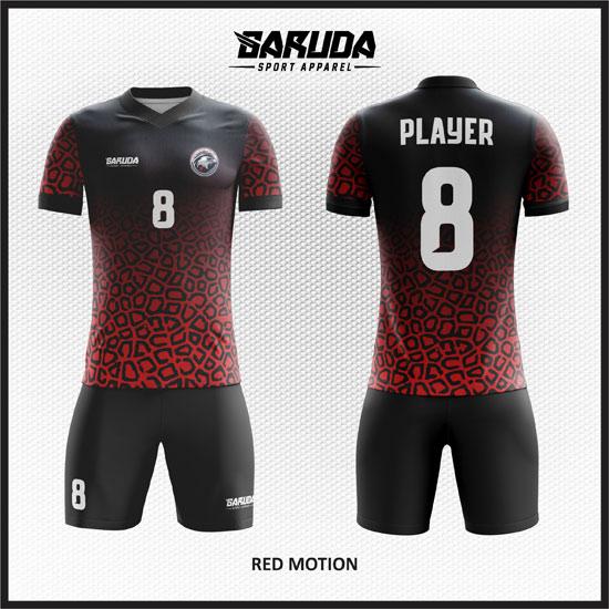 desain baju futsal merah hitam gradasi