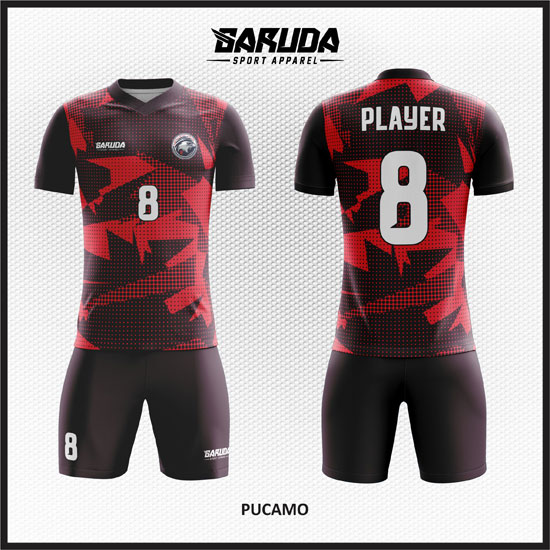 desain baju futsal merah terbaik