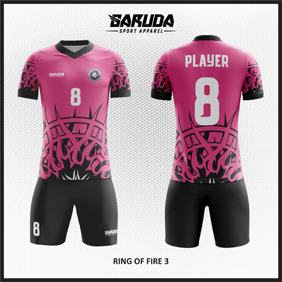 desain baju futsal pink hitam gambar api