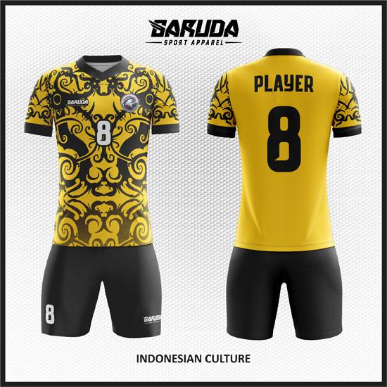 desain baju futsal printing gambar batik warna kuning