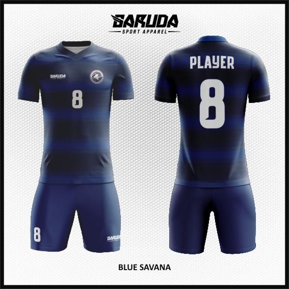 desain baju futsal printing gambar garis warna biru