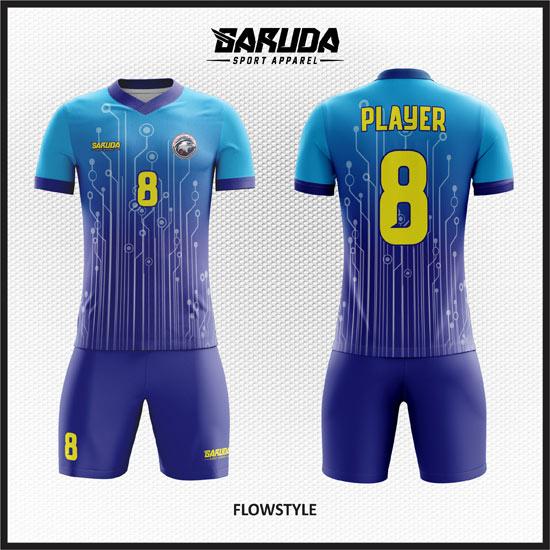 desain baju futsal printing gradasi biru terbaru