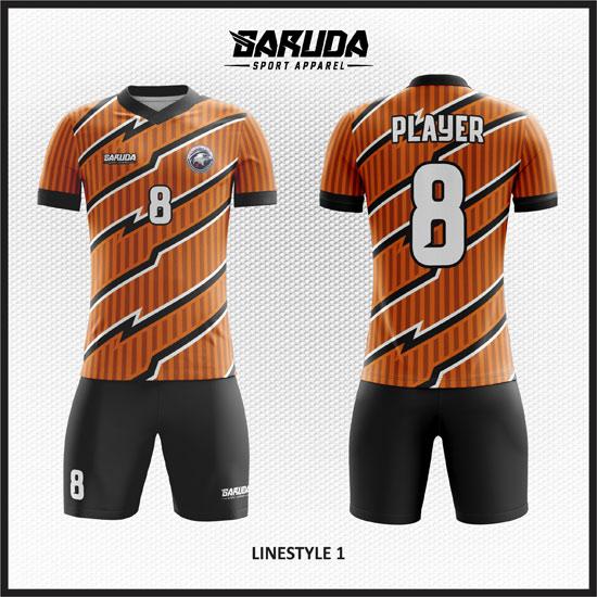 desain baju futsal printing terbaru gambar garis diagonal orange