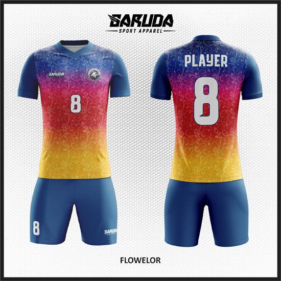 desain baju futsal printing terbaru unik gradasi warna gambar bunga