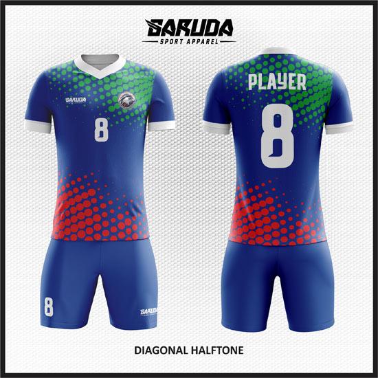 desain baju futsal warna biru merah hijau