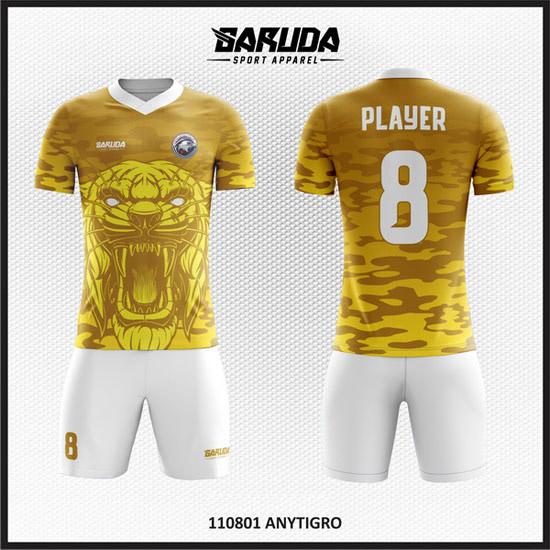 desain baju futsal warna kuning gambar harimau