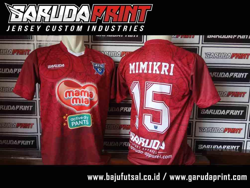 pembuatan Kaos Futsal Warna Merah full print