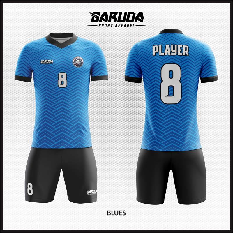 Desain Baju Futsal Biru Hitam Bisa Custom Kerah