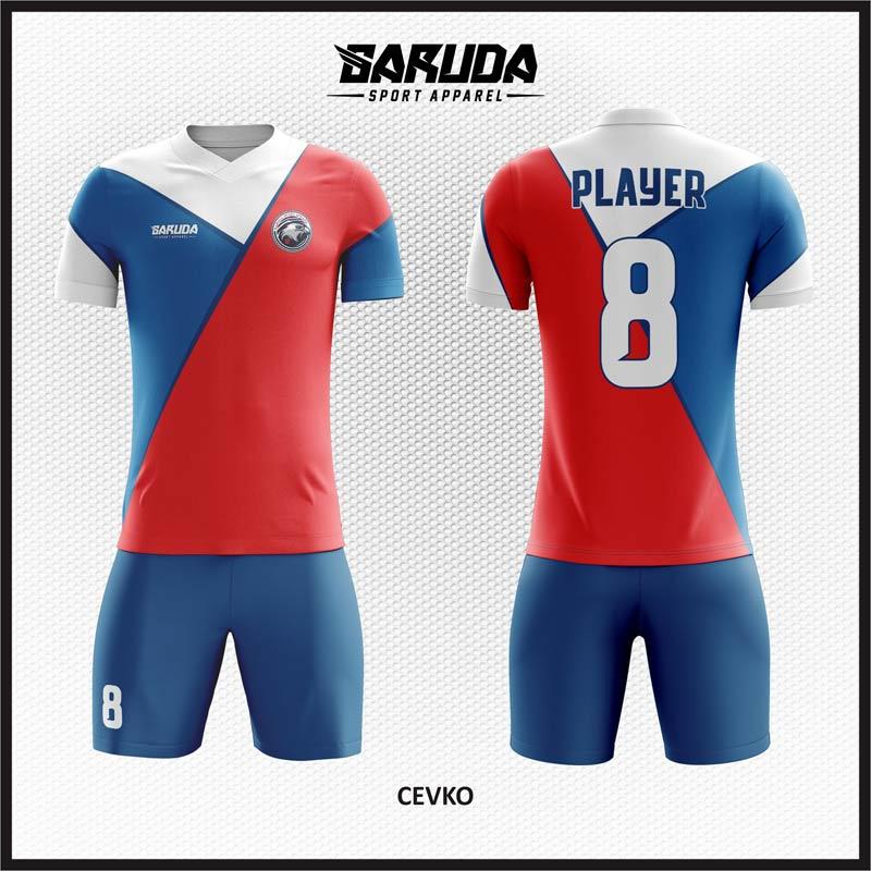 Desain Jersey Futsal Warna Merah Biru Putih Yang Dinamis