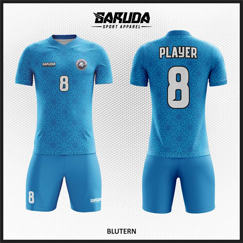 Desain Jersey Futsal Full Print Warna Biru Terlihat Lebih Kalem