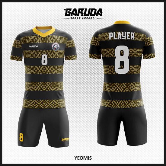 Desain Kaos Bola Futsal Warna Hitam Motif Batik Minimalis