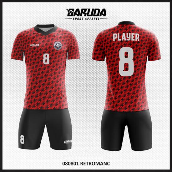 Desain Kaos Sepakbola Warna Merah Hitam Yang Menawan Dan Keren