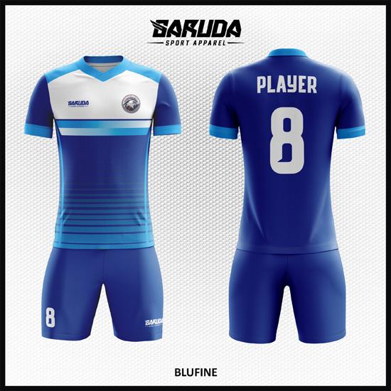 Desain Baju Sepakbola Full Print Warna Biru Tampilan Memukau
