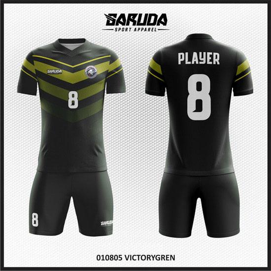 Desain Kostum Sepakbola Printing Warna Hitam Variasi Emas