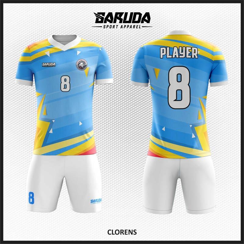 Desain Jersey Futsal Printing Warna Biru Kuning Yang Memukau