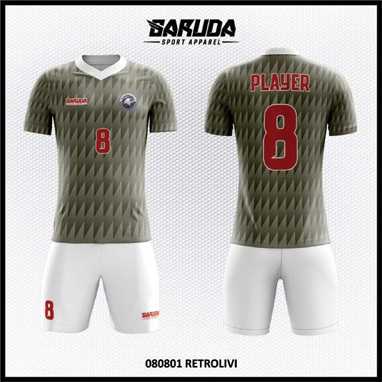 Desain Baju Futsal Warna Abu Abu Putih Motif Bergerigi