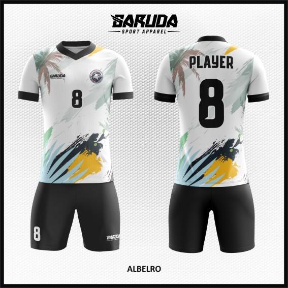 Desain Kaos Bola Futsal Warna Putih Hitam Bernuansa Pantai