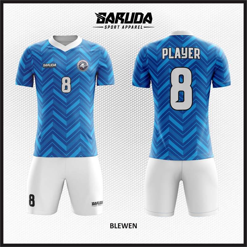 Desain Jersey Futsal Warna Biru Bergelombang Yang Menawan