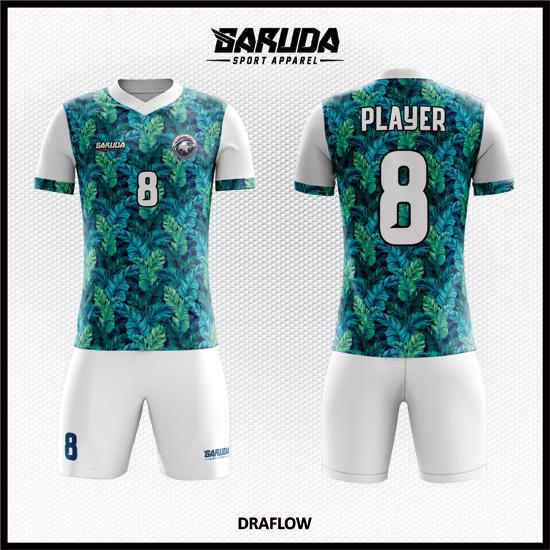 Desain Jersey Futsal Full Print Motif Daun Tampil Lebif Fresh