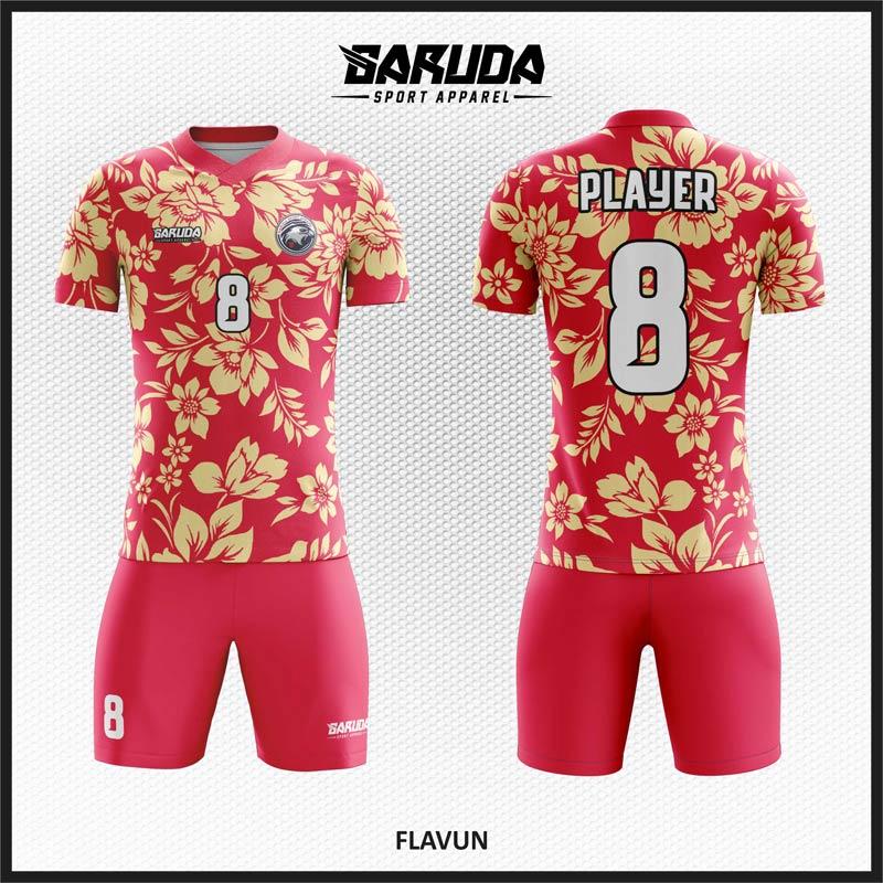 Desain Baju Futsal Motif Bunga Warna Pink Yang Anggun